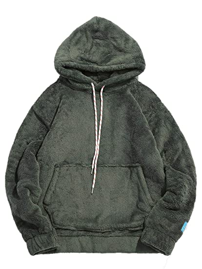 3acc51dc1 KENANCY Mens Solid Casual Fluffy Hoodie with Pocket Oversized Pullover  Sweatshirt(Army Green,M