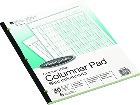 Wilson Jones G7206A Columnar Pad 6 Columns 50 Sheets Green 11-Inch x8-1//2-Inch