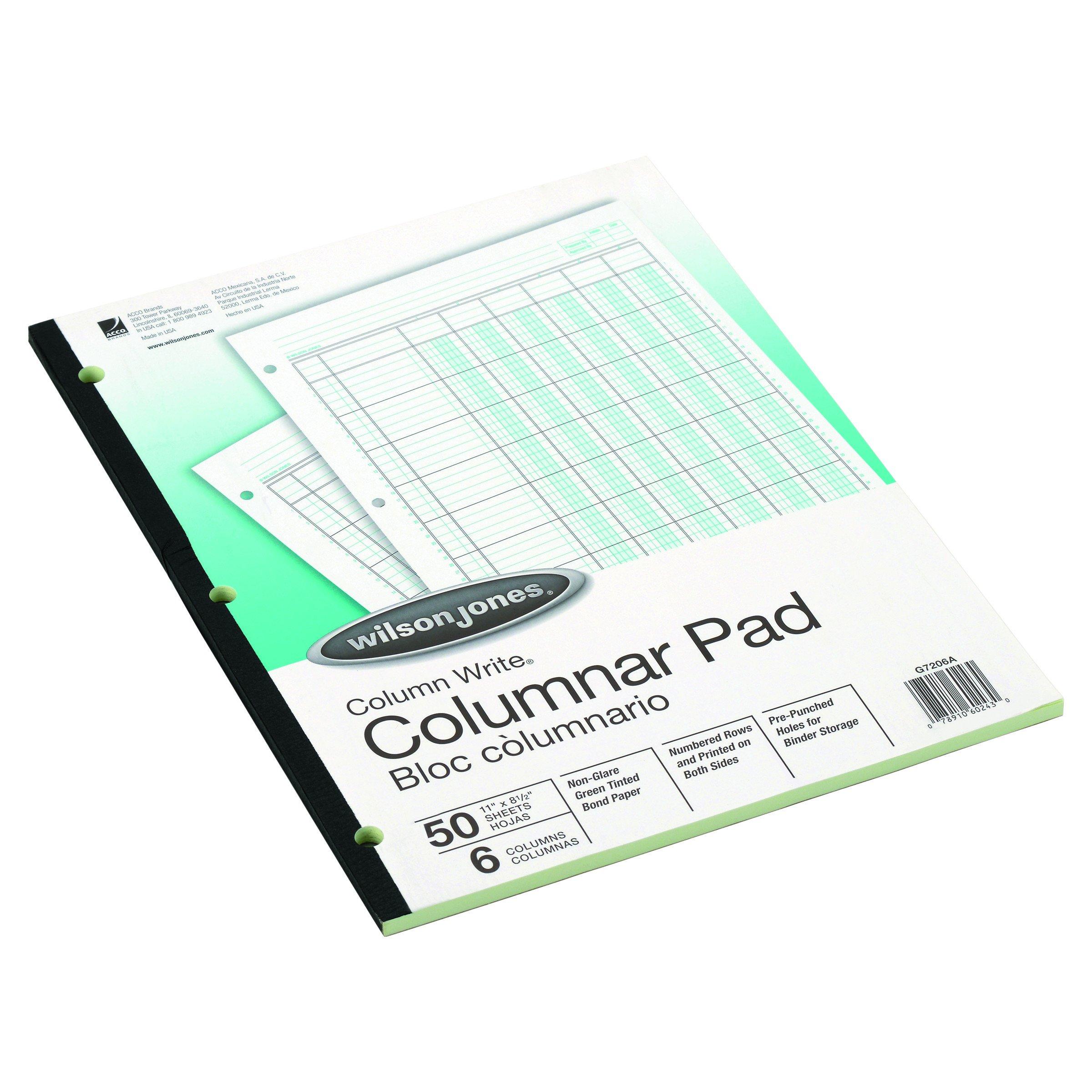 Wilson Jones G7206A Accounting Pad, Six-Unit Columns, 8-1/2 x 11, 50-Sheet Pad