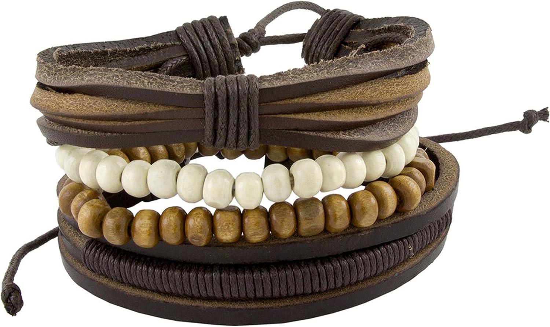 Vintage Multi Strand Genuine Leather Thread Black Beads Multicolor Adjustable Wrist Band Bracelet Boy Men