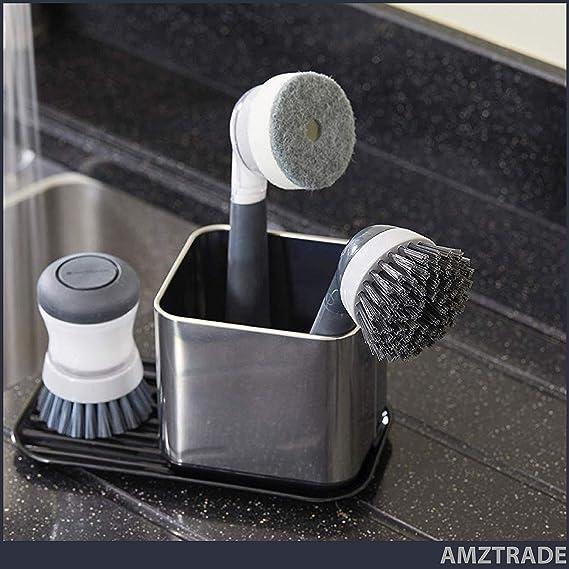 AMZTRADE Organizer per lavello da cucina un utensile da cucina che garantisce igiene ripiano per lavello per spazzola e spugna in nero e acciaio inox