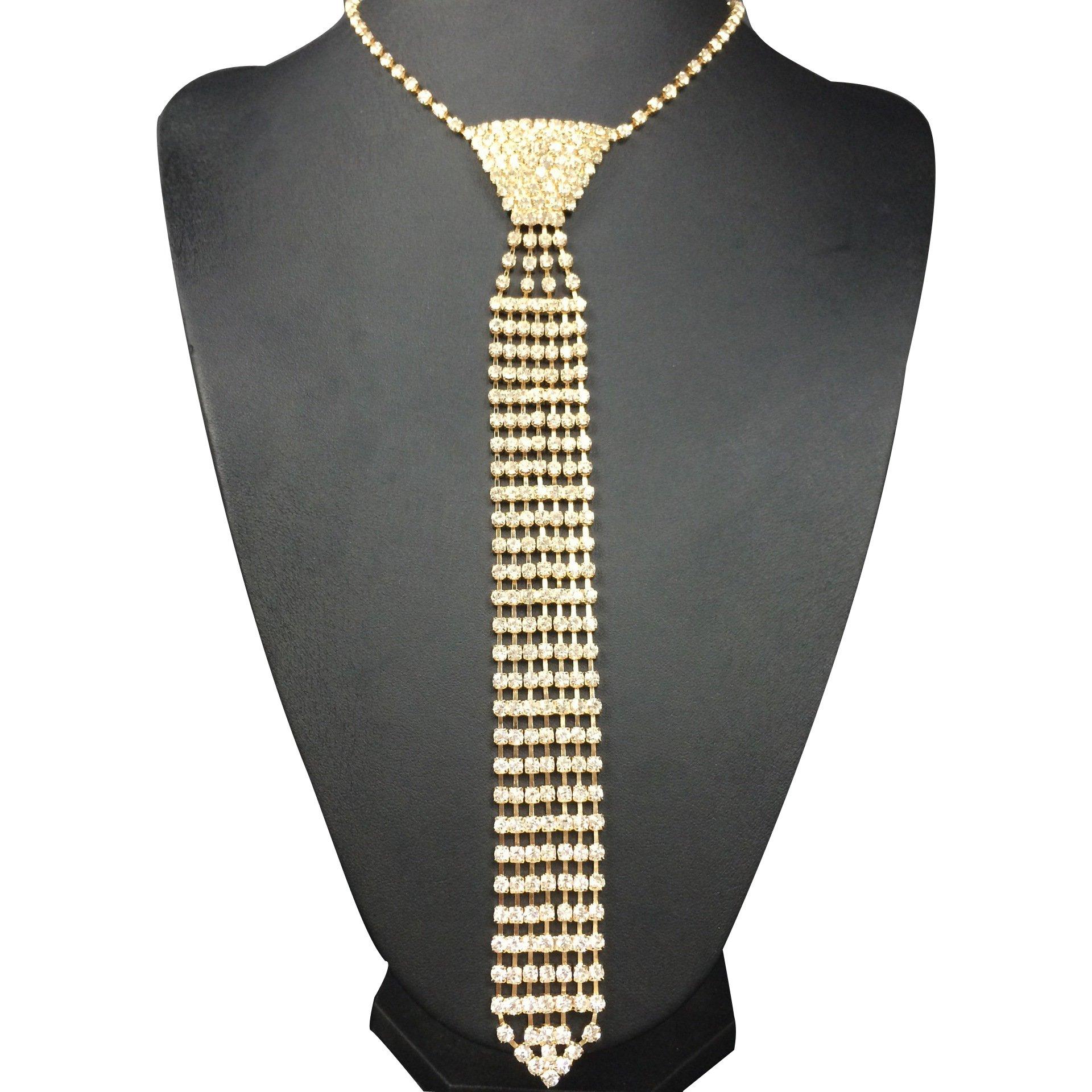 Fashion Sexy Rhinestone Bow Tie Necktie Shape Necklace Shiny Collar Choker Wedding Necklace (Gold Long Style)