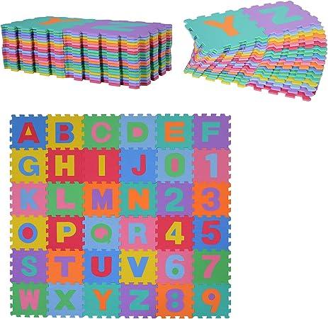 HOMCOM Alfombra Puzzle para Niños 31x31cm 36 Piezas Numeros 0 al 9 y 26 Letras Alfabeto Goma Espuma Alfombrilla de Juego para Bebe Infantil Área de Cobertura 3.13㎡: Amazon.es: Hogar