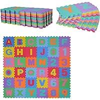 HOMCOM Alfombra Puzzle para Niños 31x31cm 36 Piezas Numeros 0 al 9 y 26 Letras Alfabeto Goma Espuma Alfombrilla de Juego…