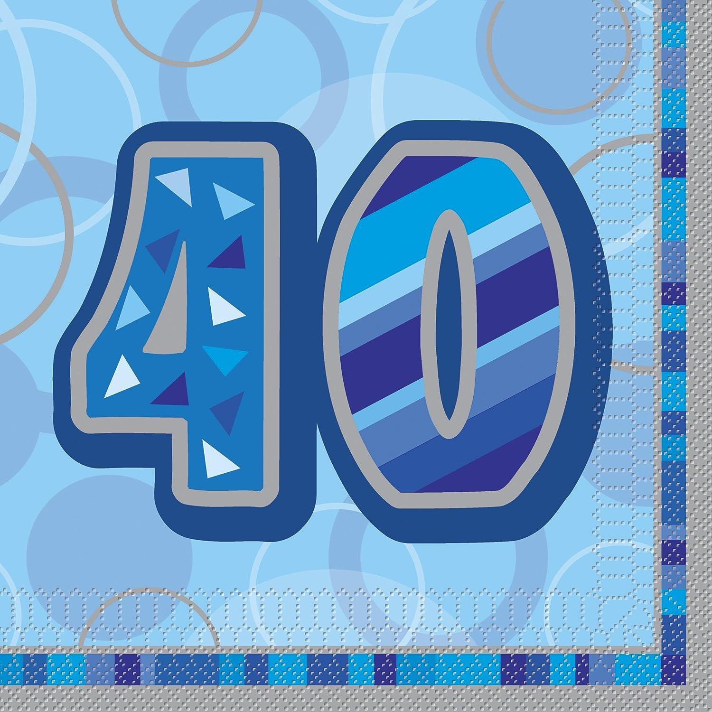 Unique Party- Paquete de 16 servilletas de papel de 40 cumpleaños, Color azul, Edad (28461)