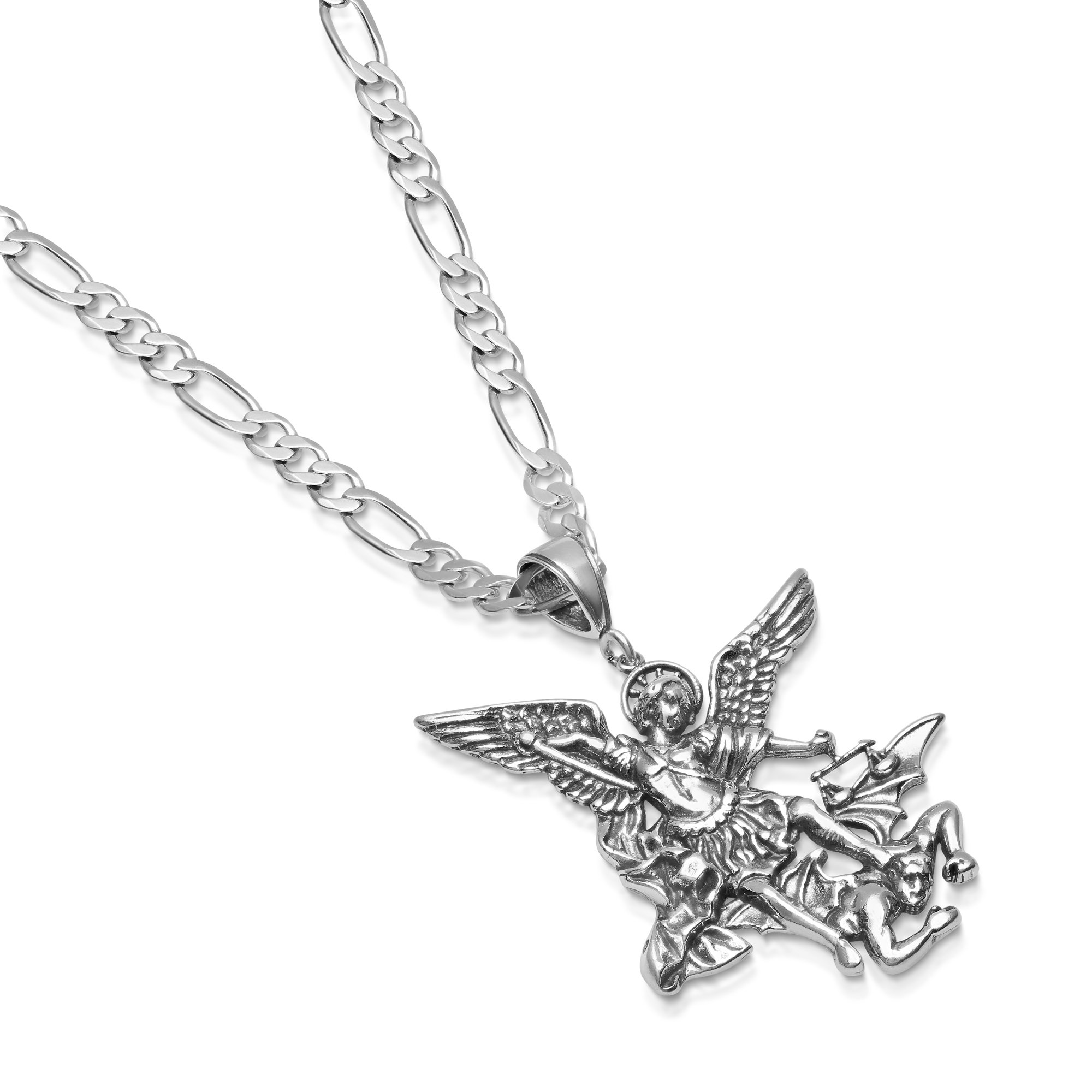 Sterling Silver St. Michael Necklace Pendant Figaro Chain - Large - 5mm - 30 Inch