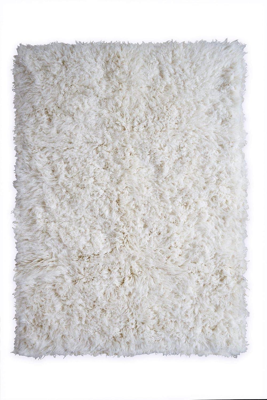 Flokati Teppich Qualität 3000 natur Kult Shaggy Teppich Hochflor Langflor 100% Schurwolle, Größe  90x160 cm