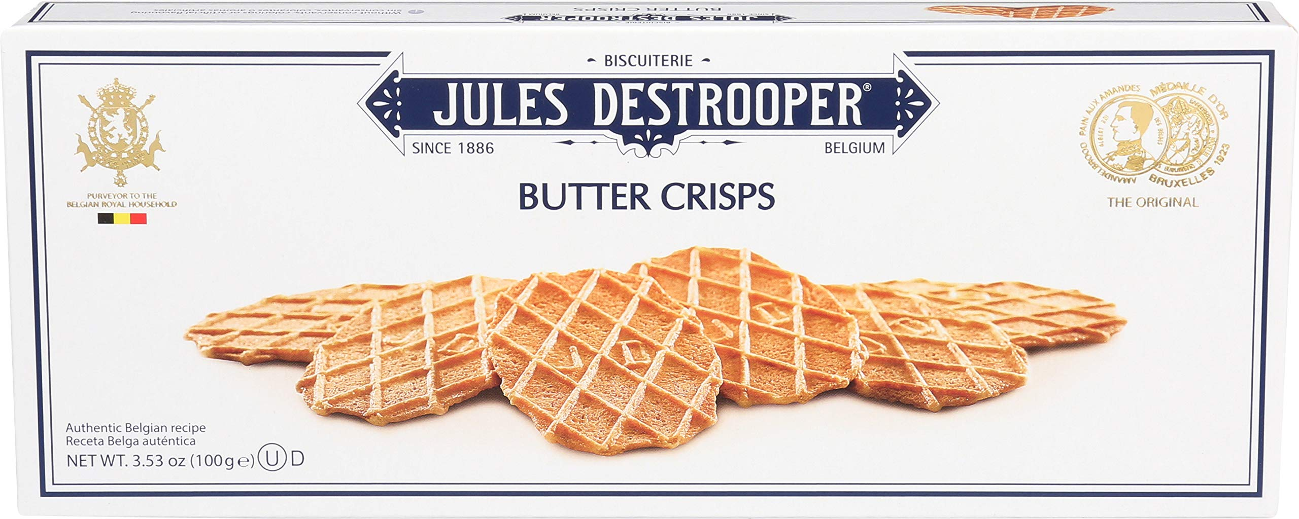 Jules Destrooper Butter Crisps, Belgian Butter Wafer Cookies, 3.5-Ounce Box (Pack