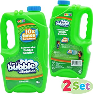 JOYIN 2 Refill Bubble Solutions; (up to 5 Gallon) Big Bubble Solution 64 Ounce Concentrated Solution for Bubble Machine, Easter