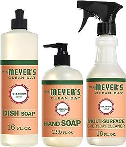 Mrs. Meyer's Clean Day Kitchen Basics Set, Geranium Cleaning Supplies, 3 Count Pack