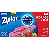 Ziploc Storage Bags, For Food, Sandwich, Organization and More, Smart Zipper Plus Seal, Quart, 48 Count