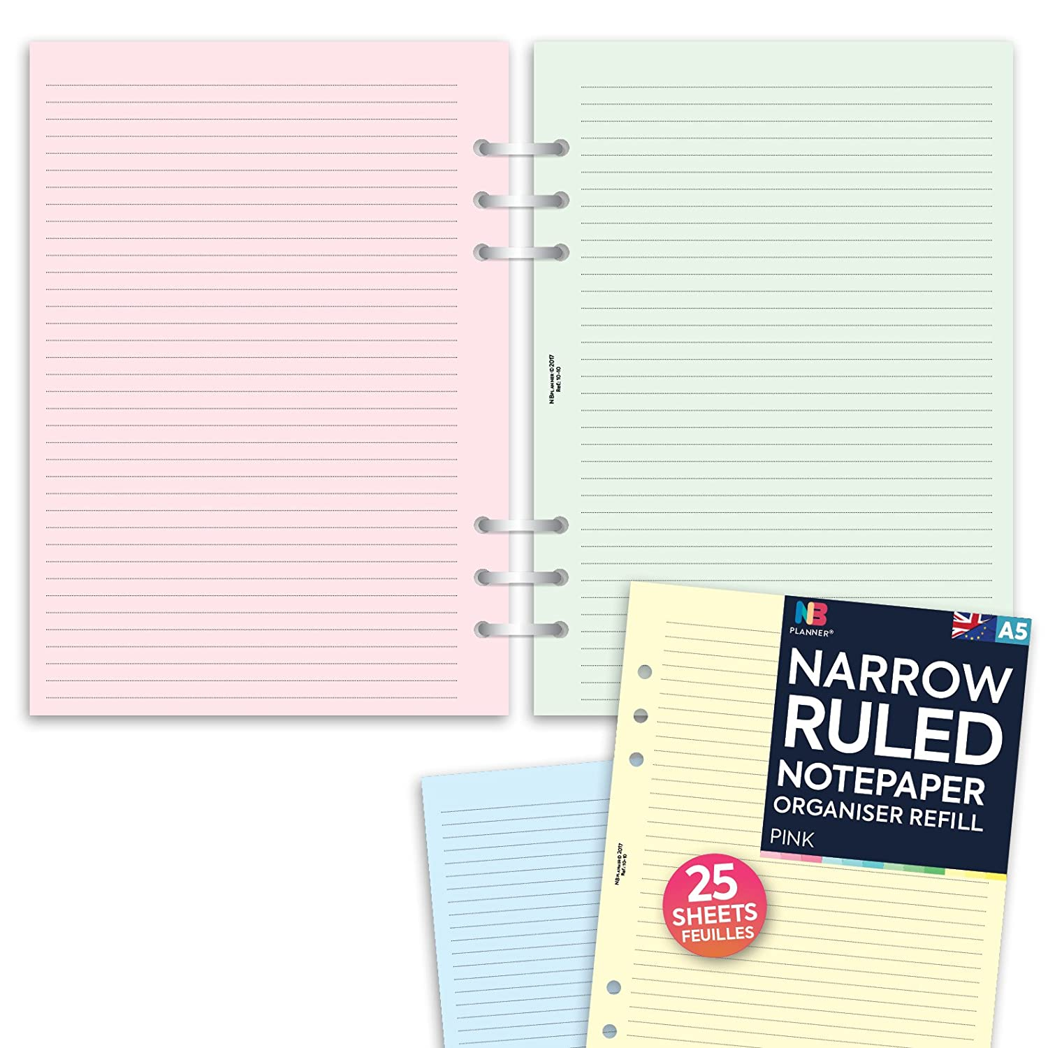 A5 Classic Coloured Ruled Notepaper Filofax Refills Undated All Sizes /& Variations for Filofax Organisers