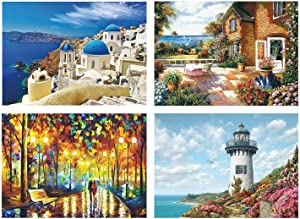 GuDoQi Puzzles for Adults 1000 Piece, Rainy Night Walk Jigsaw Puzzle Bundle with Cottage Garden Puzzle, Harbor Lighthouse Puzzle, Greece Santorini Church Puzzle, Intellectual Large Puzzle Game Toys