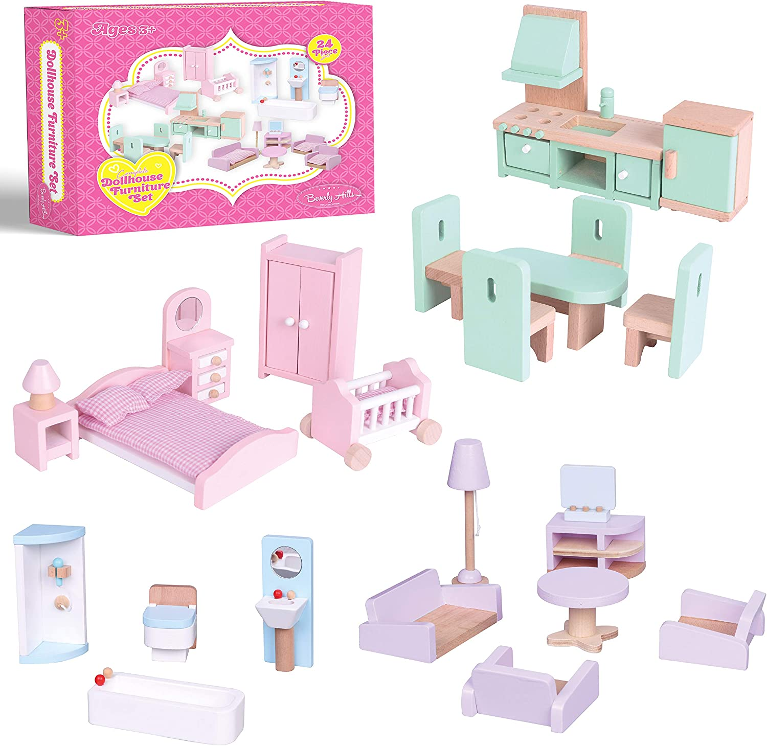 Beverly Hills Wooden Dollhouse Furniture Set Furnish The Kitchen, Living Room, Bedroom & Bathroom with Adorable, Wooden Doll Furniture, idea for Girls