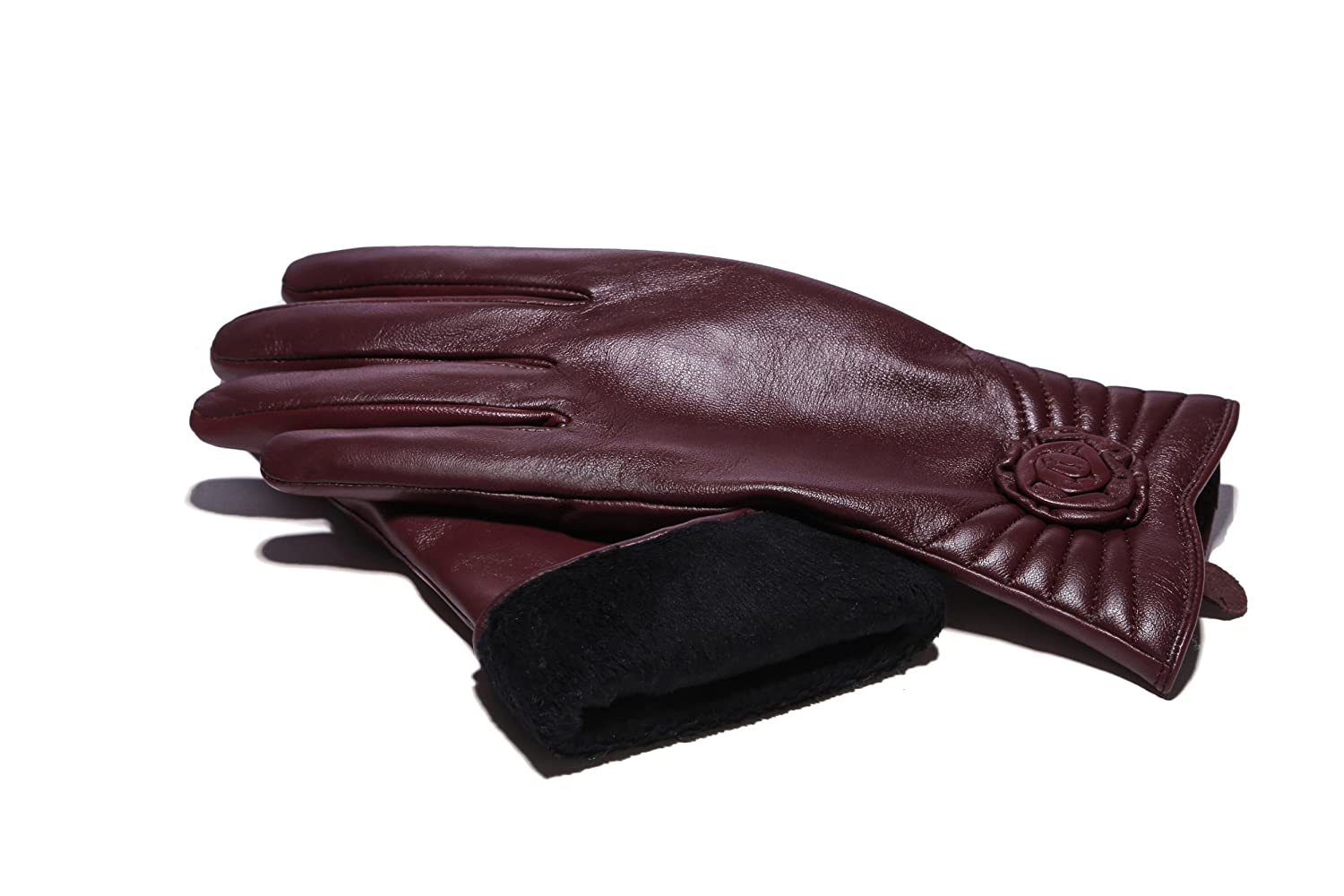 MoDA Women's Ms. Brussels Genuine Leather Fully Lined Winter Gloves with Touch Function C0156-BK-M