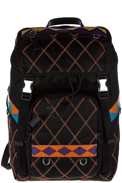 Prada mochila bolso de hombre nuevo tejido impunture negro: Amazon.es: Zapatos y complementos