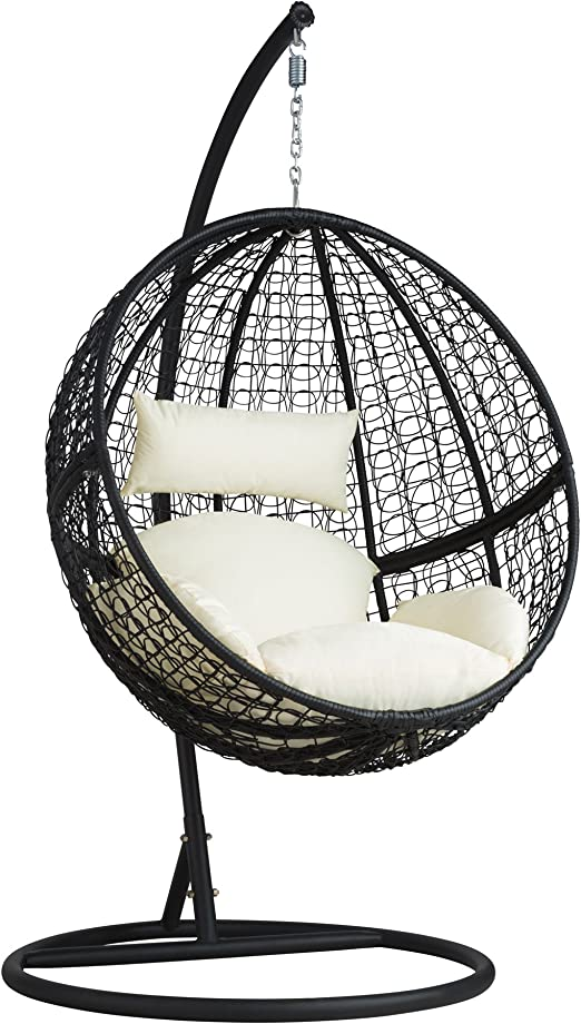 tectake Chaise hamac avec Support en Résine Tressée Fauteuil Suspendu de  Jardin Balancelle Transat - diverses Couleurs au Choix - Lancelle transat -  ...
