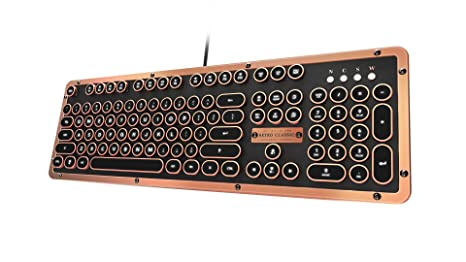 Retro Classic Artisan , USB Luxury Vintage Back lit Mechanical Keyboard  (Blue Switch, Black Leather, Zinc Alloy Frame)(UK Layout)