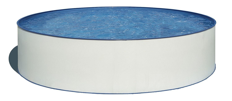 Gre KITWPR352E Lanzarote - Piscina Elevada Redonda, Aspecto Acero Blanco, 350 x 90 cm: Amazon.es: Jardín