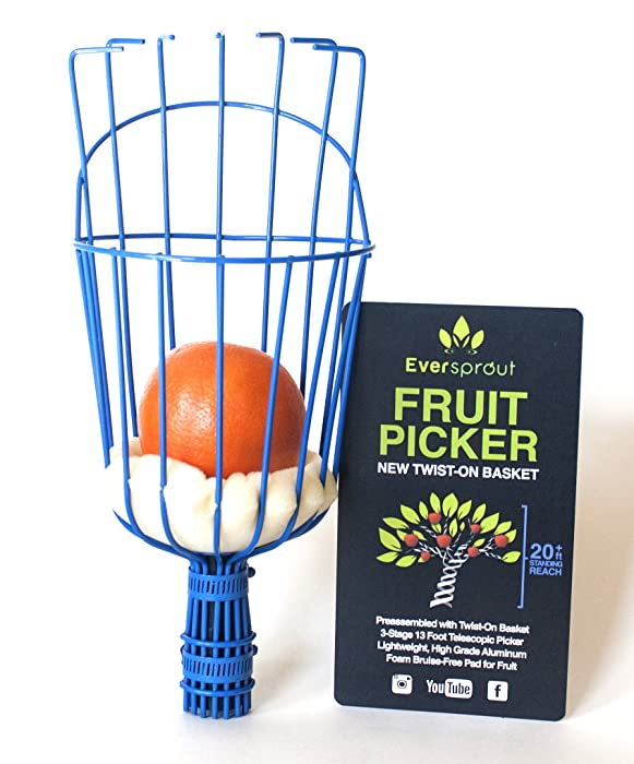 EVERSPROUT Twist-On Fruit Picker Basket   Twists onto Standard US Threaded Pole (3/4'' ACME)   Fruit Harvester Attachment (Head Only, Pole Not Included)