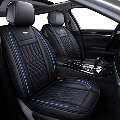 LUCKYMAN CLUB Car Seat Covers with Waterproof Faux Leather Fit for Most Sedan SUV Such as Hyundai Elentra Sonata Tucson Chevy Equinox Ford Kia Vw Honda CRV Mazda6 Toyota (Black& Blue): Automotive