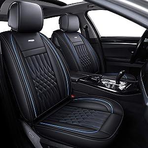 LUCKYMAN CLUB Car Seat Covers with Waterproof Leather Fit for Most Sedan SUV Such as Hyundai Elentra Sonata Tucson Chevy Equinox Ford Nissan Kia Vw Honda CRV Mazda6 Toyota (Black& Blue)