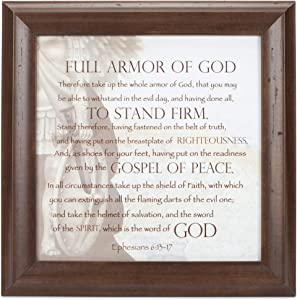 Elanze Designs Full Armor of God Verona Mocha Wood Finish 12 x 12 Framed Art Wall Plaque
