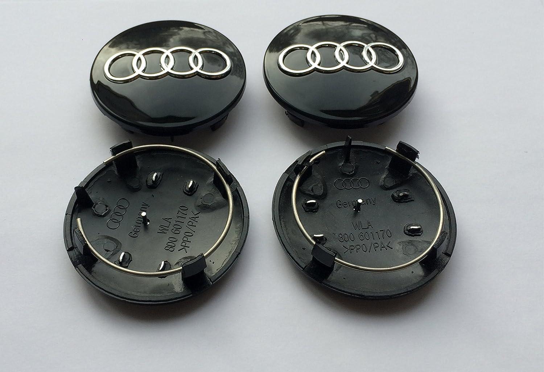 Schwarz 68 mm Nabenkappen S3//S4//A3//A4//A6//A8//TT//RS4//Q5//Q7 Legierung 4er-Set Radnabenabdeckung