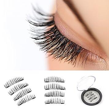 ec198b05c2b Amazon.com : VereBeauty Long Dual Magnetic False Eyelashes, Natural Look,  Most Glamorous 3D Ultra Soft, Natural Look, Glue Free Handmade Reusable  False ...