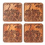 Auckland Map Coaster, Set of 4, Sapele Wooden
