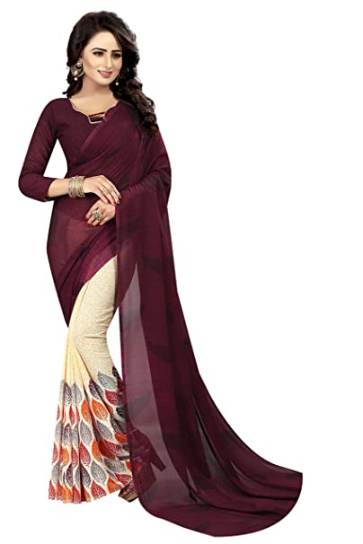 32f735ad853d30 Refreshing Deal Georgette Saree New arrival With Blouse Piece For Women  Pinted In Cream Wine Color  Amazon.in  Clothing   Accessories