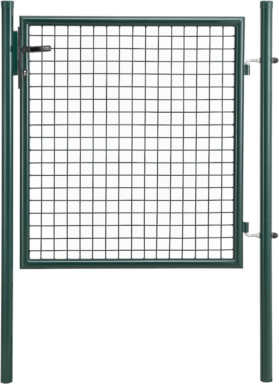 [pro.tec] Puerta de jardín galvanizado (150x106cm) Verde - Incluye Cerradura y 3 Llaves - Puerta de Valla