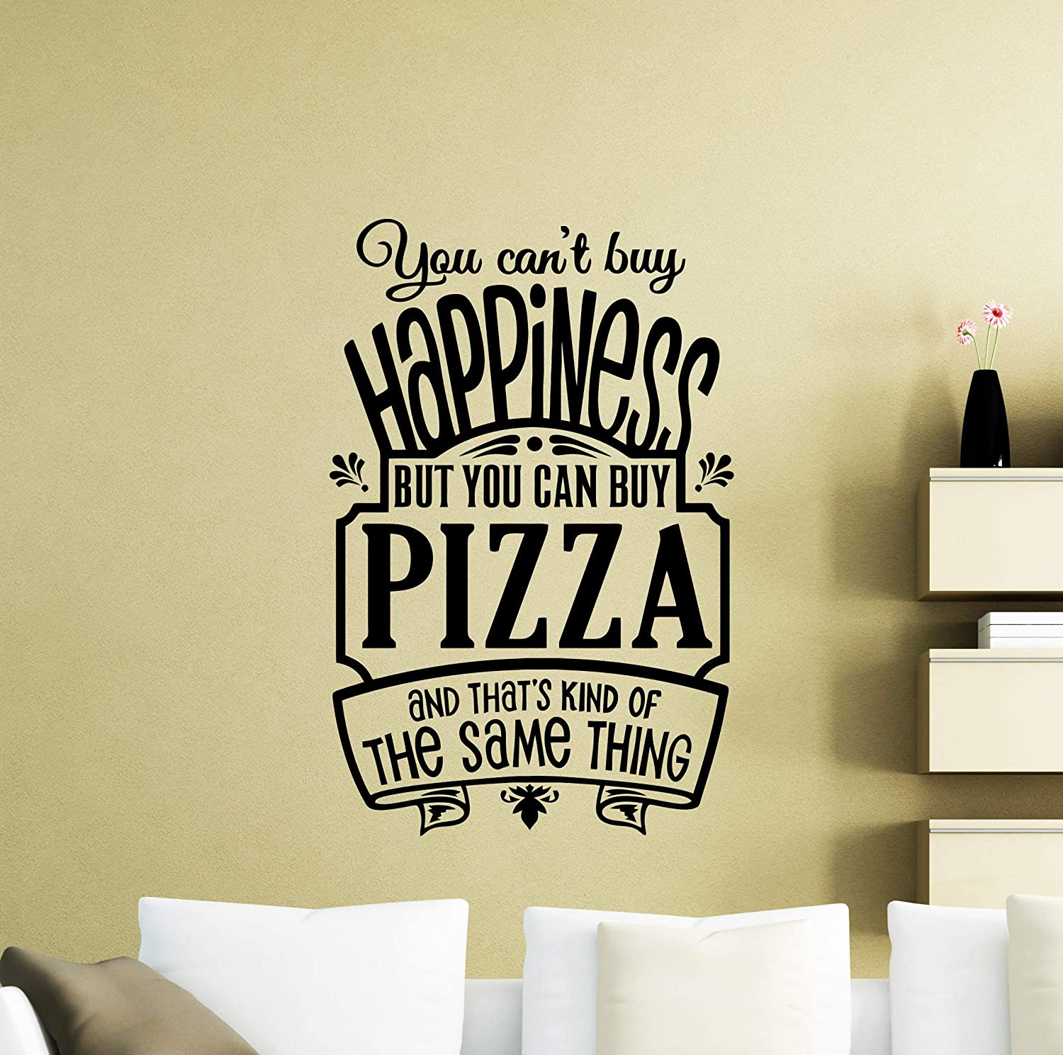 Amazon com chloelew778 pizza wall decal you cant buy happiness sign