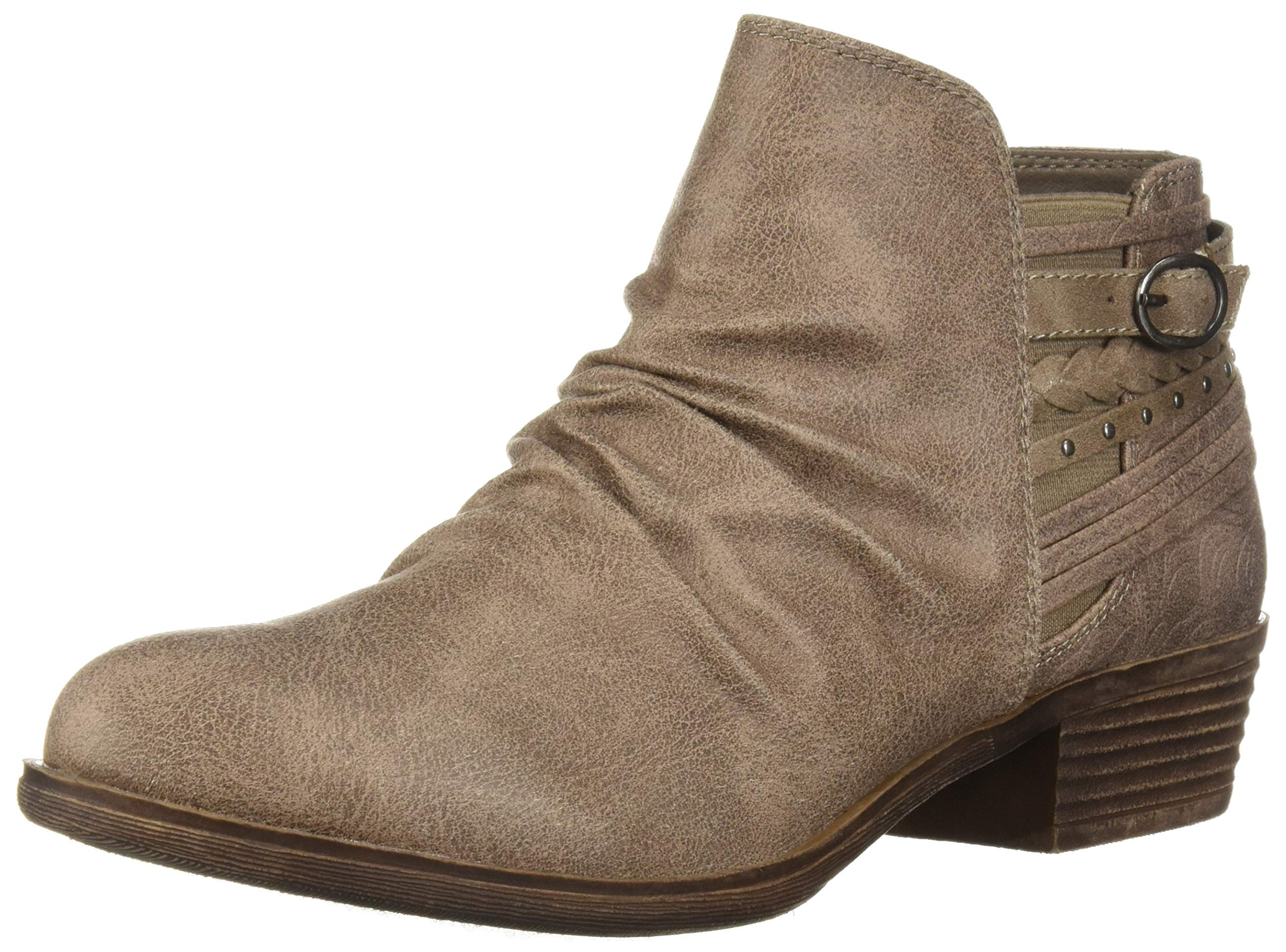 Sugar Women's Tali Casual Trendy Low Heel Scrunch Bootie with Back Strap Details Ankle Boot, Stone Fab Suede, 7 Medium US