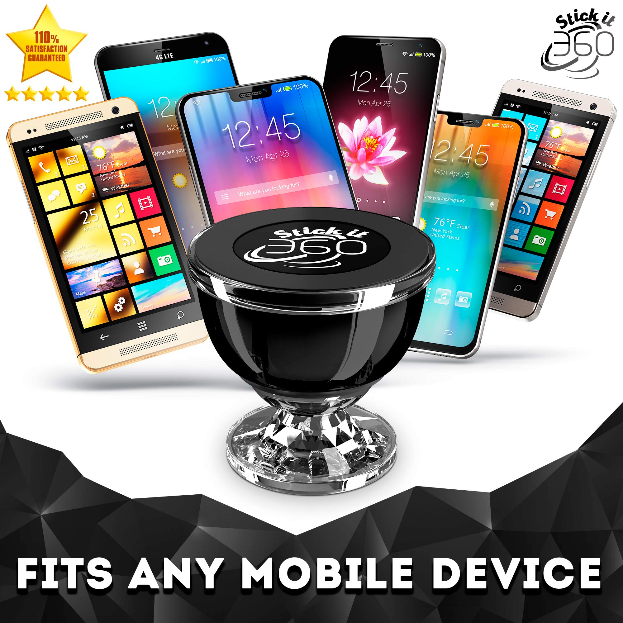 Universal Cell Phone Holder for Car, Magnetic Car Phone Mount 360 Rotation from Dashboard, 6 Strong Mobile Friendly Neo Magnets 21600 Gauss, Compatible with All Smartphones by Stick it 360 (Black)