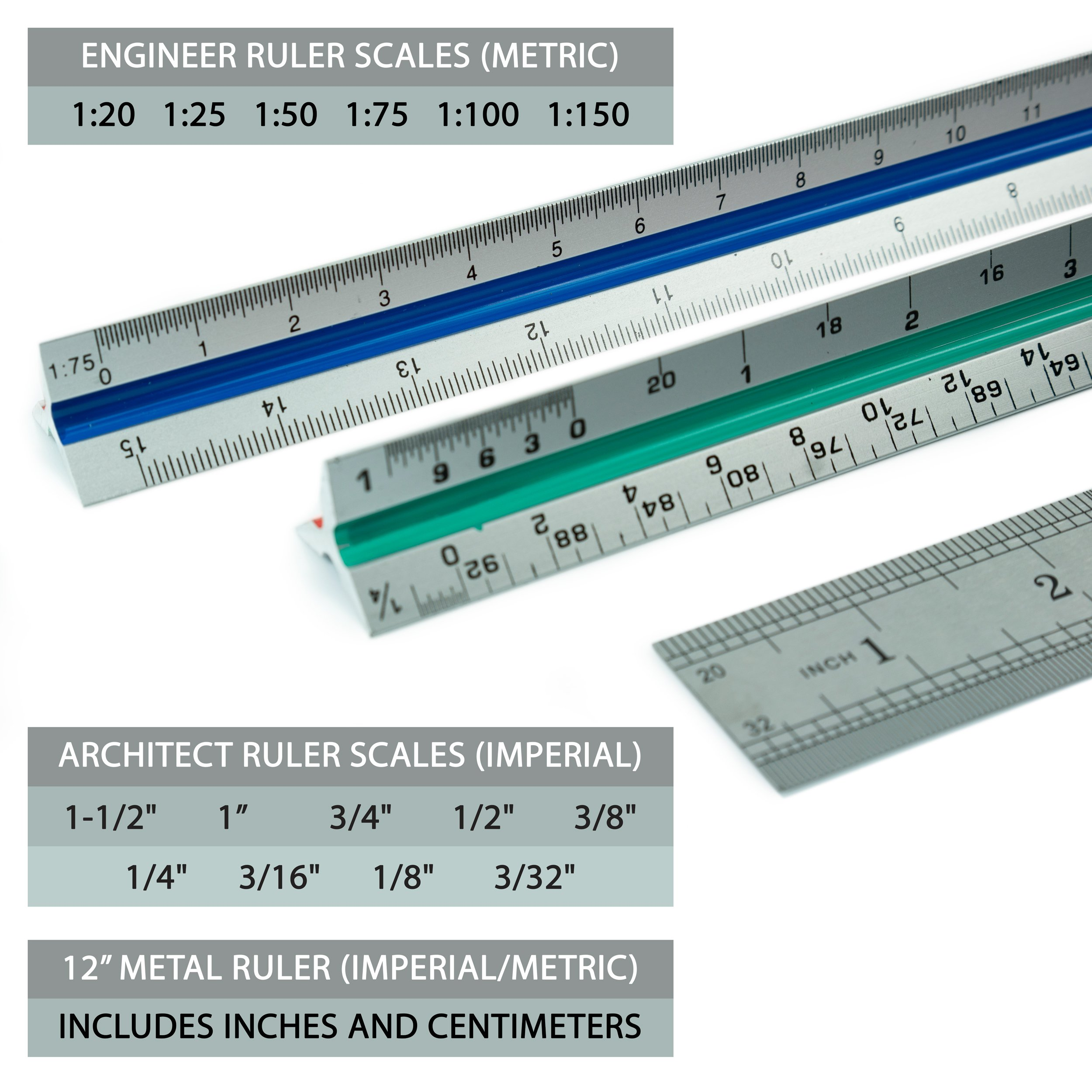 """Artellius 12"""" Architectural and Engineer Scale Ruler Set (Professional Grade Metal) Color Coded"""