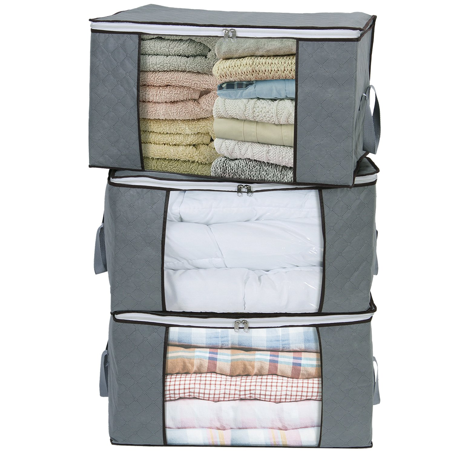 Lifewit Large Clothes Storage Bag for Comforters, Blankets, Bedding, Pillow, Breathable Foldable Closet Organizer with Clear Window, Set of 3 Grey