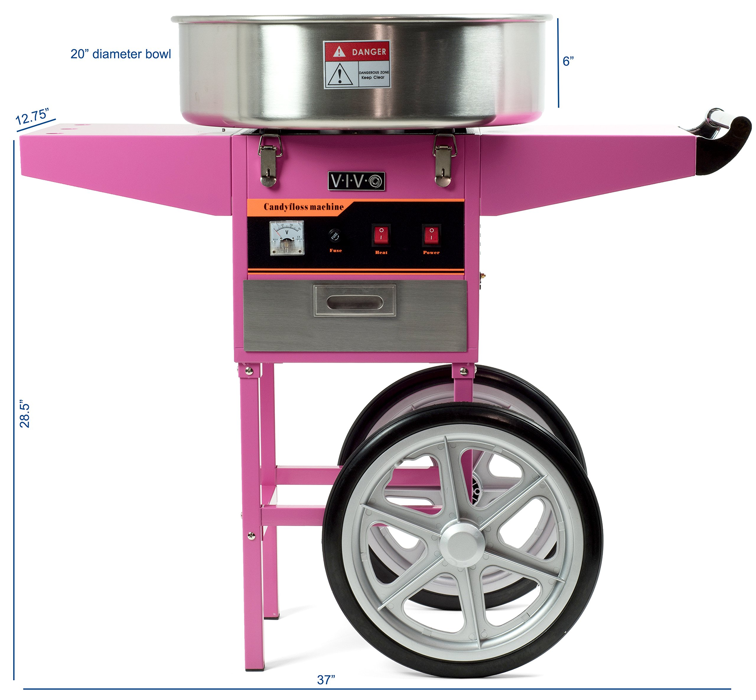 Electric Commercial Cotton Candy Machine / Candy Floss Maker Pink Cart Stand VIVO (CANDY-V002) by VIVO (Image #2)