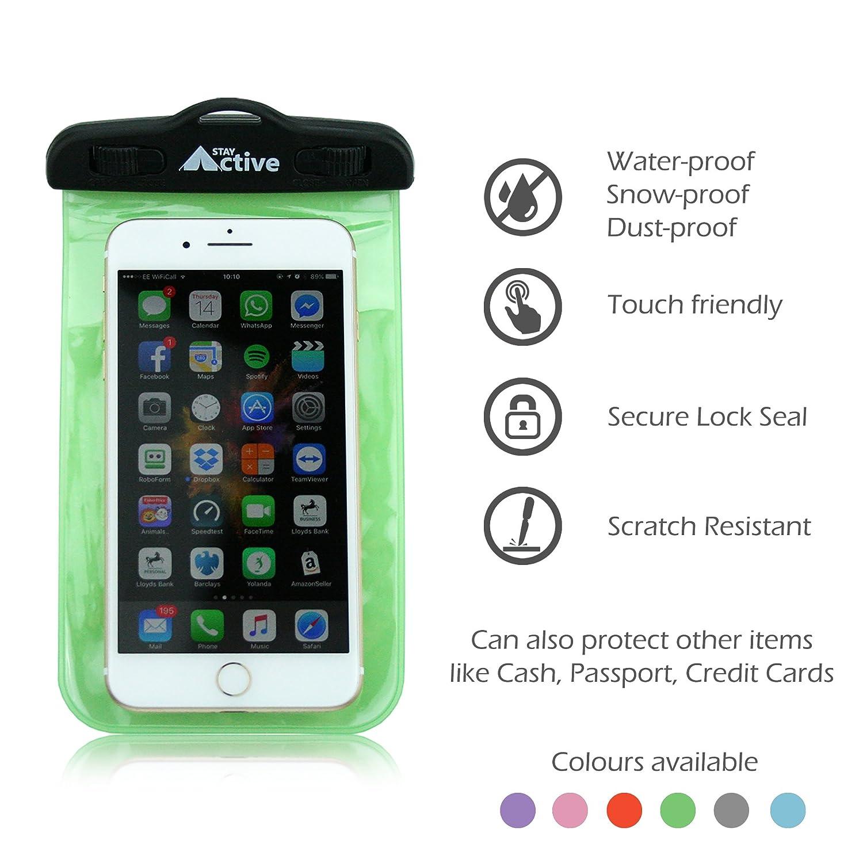 Stay Active - Funda Teléfono Móvil Resistente al agua | Carcasa Subacuática para cualquier teléfono Apple iPhone, Samsung Galaxy y Android de hasta 16,5 cm ...