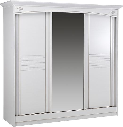 Destock - Armario blanco con 3 puertas correderas de hielo central ...