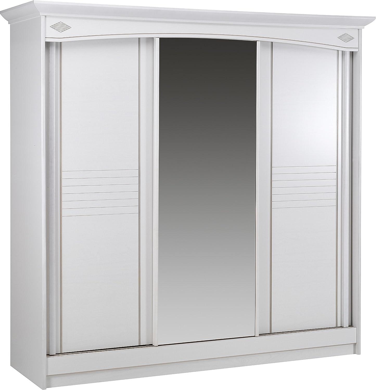 Armario blanco 3 puertas correderas con espejo central