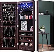 Nicetree 8 LED Mirror Jewelry Cabinet, Jewelry Armoire Organizer with Full Screen Mirror, Wall/Door Mounted, Full Length Mir