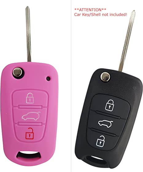 2pcs Silicone Remote Control Car Key Housing Case Cover for Ford Fiesta Pink+Yellow