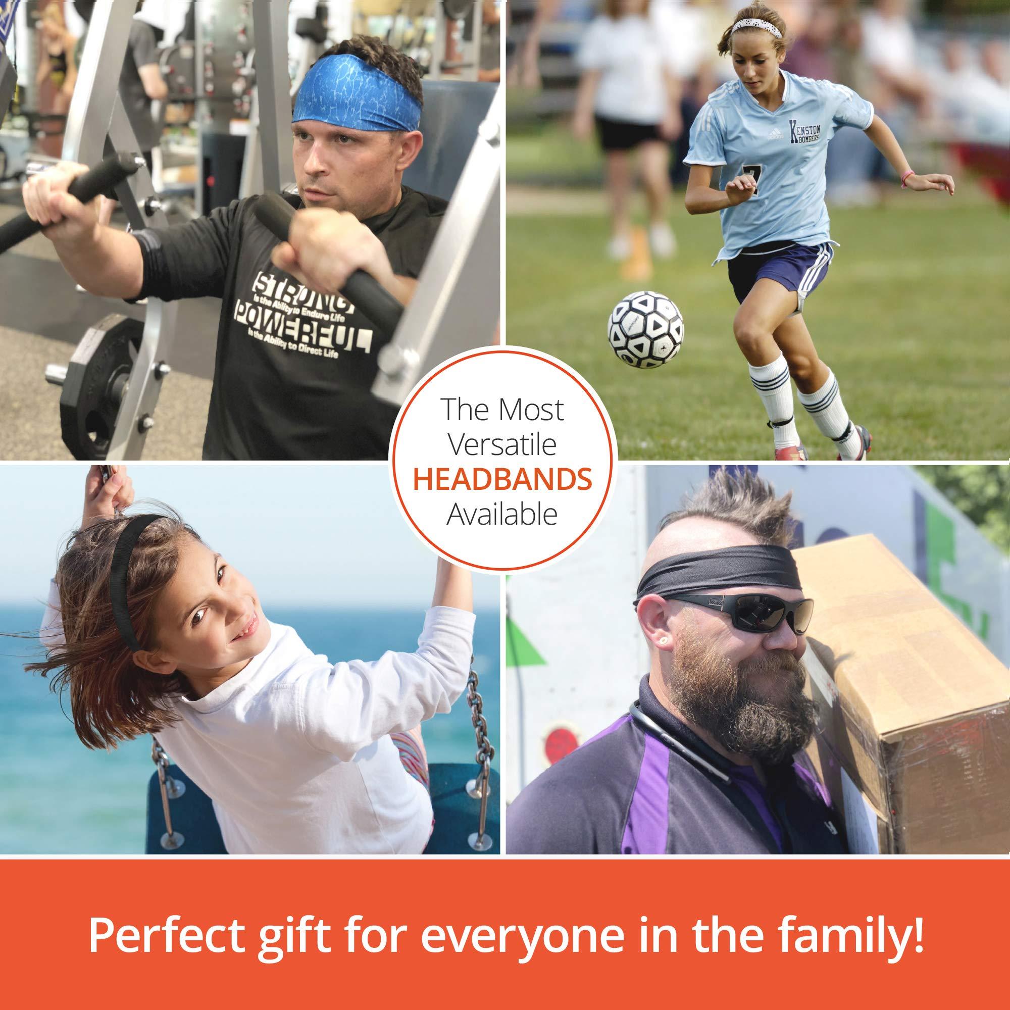 Cooling Headbands Moisture Wicking Womens Sweatband & Sports Headband | Workouts Cardio Running Yoga (Construction Orange) by Bani Bands (Image #7)