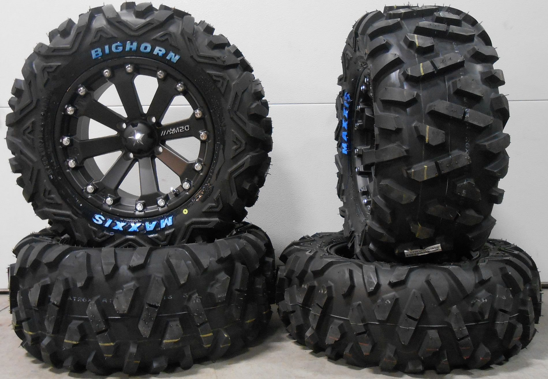 Bundle - 9 Items: MSA Black Kore 14'' ATV Wheels 26'' BigHorn Tires [4x156 Bolt Pattern 3/8x24 Lug Kit]