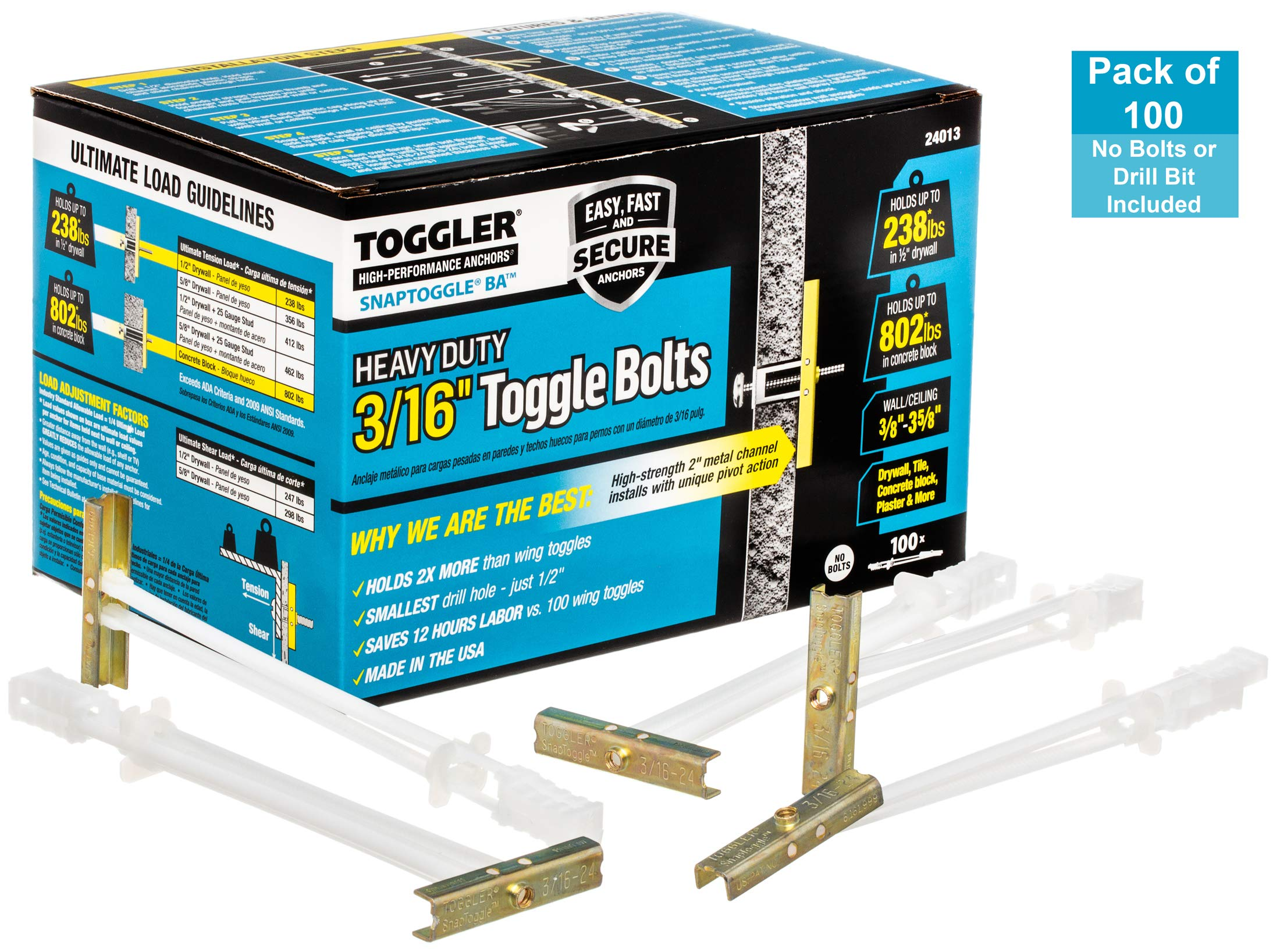 TOGGLER SNAPTOGGLE BA Toggle Anchor, Zinc-Plated Steel Channel, Made in US, 3/8'' to 3-5/8'' Grip Range, for 3/16''-24 UNC Fastener Size (1 Pack of 100) by TOGGLER