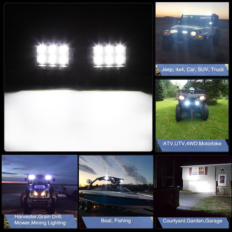 TURBOSII 4Pcs 4Inch Spot Beam 18W Led Work Light Bar Pods