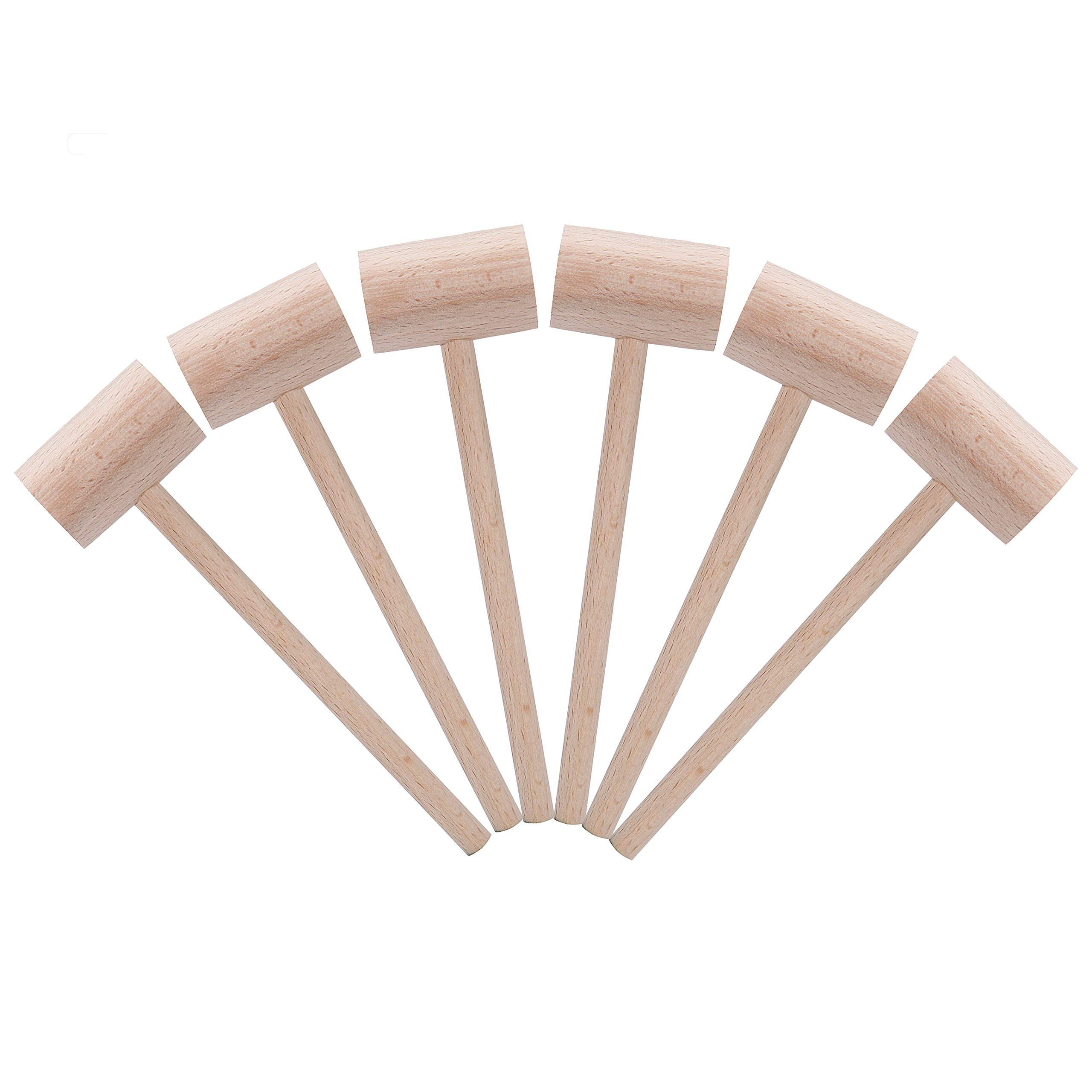 6 Pack Wooden Crab Mallets Seafood Lobster Shellfish Cracker Natural Hardwood Hammer by Mihey