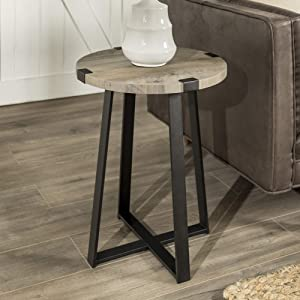 "WE Furniture AZF18MWSTGW Industrial Round Metal Wrap Side End Table, 18"", Grey Wash"