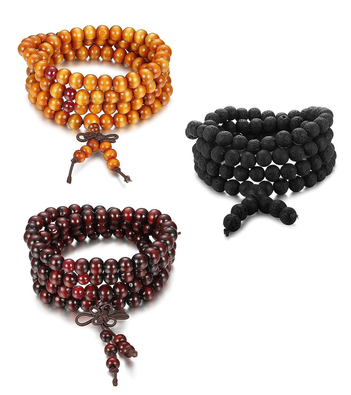 Subiceto 3-4PCS Natural Lave Rock Stone Bead Bracelet for Men Women Wooden Beaded Bracelet SU-B12-3